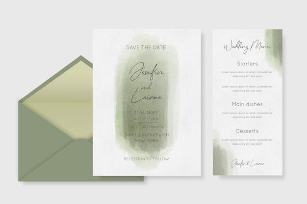 Cancelleria minimalista per matrimonio ad acquerello