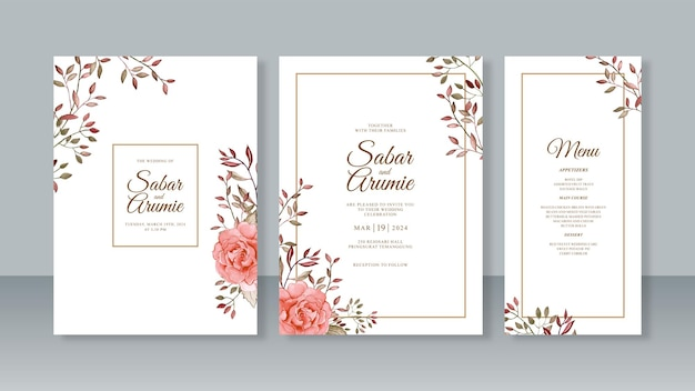 花の水彩画とミニマリストのウェディングカードの招待状のテンプレート Premiumベクター