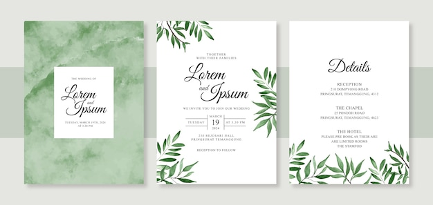 Minimalist wedding card invitation template with hand painted watercolor splash and foliage