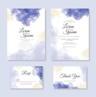 水彩のスプラッシュと輝きのミニマリストのウェディングカードの招待状のテンプレート