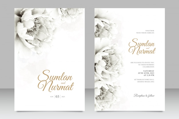 Minimalist wedding card set template with peonies watercolor