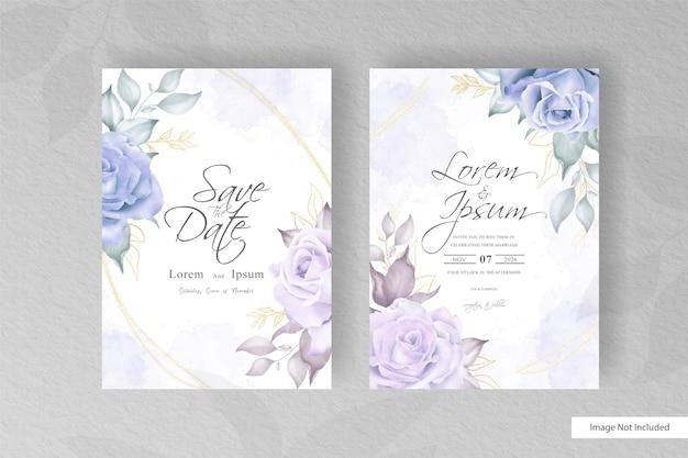 Минималистский шаблон свадебной открытки с рисованной цветочными и акварельными элементами