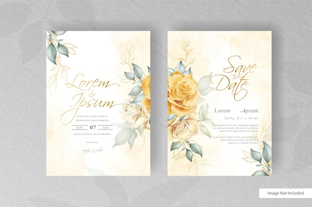 Minimalist wedding card template with hand drawn floral and watercolor element