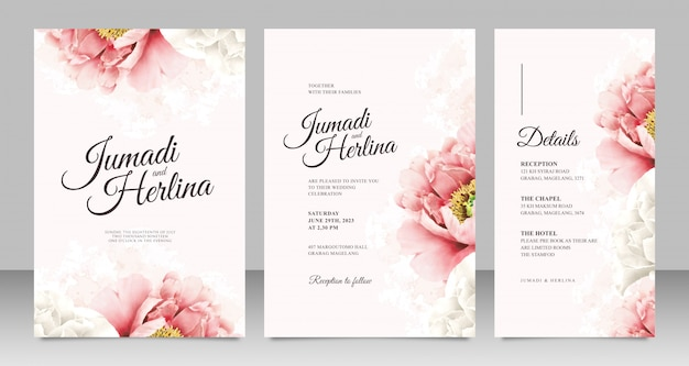 Minimalist wedding card template with realistic peonies
