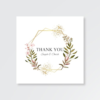 Minimalist wedding card template with watercolor floral frame