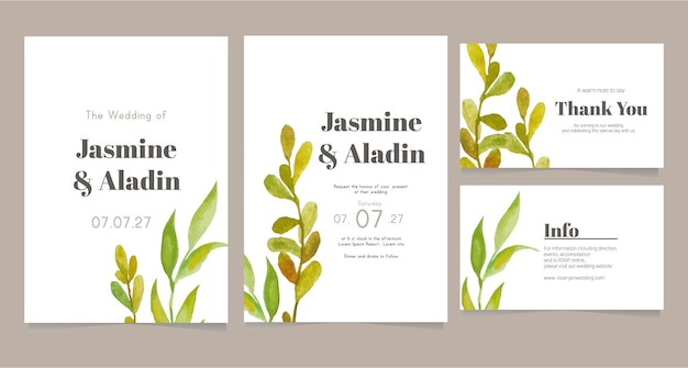 Minimalist wedding card template