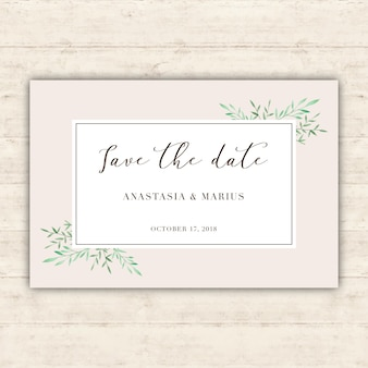 Minimalist wedding card with watercolor leaves