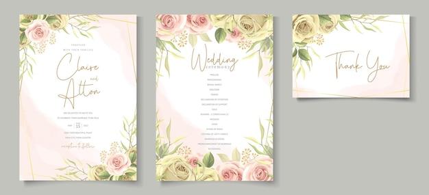 花の装飾が施されたミニマリストのウェディングカード