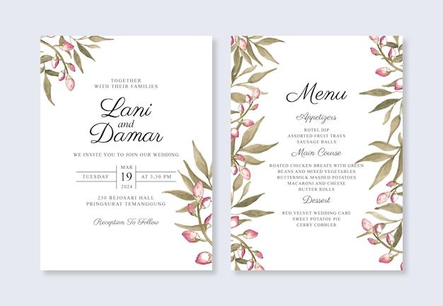 手描きの水彩画の葉を持つミニマリストの結婚式の招待状のテンプレート