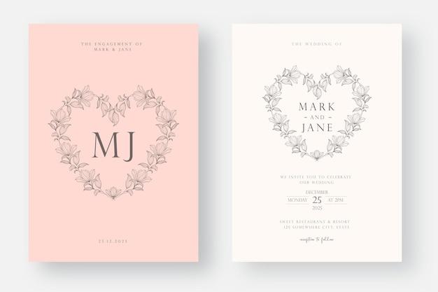 Minimalist wedding invitation card template design in line art style