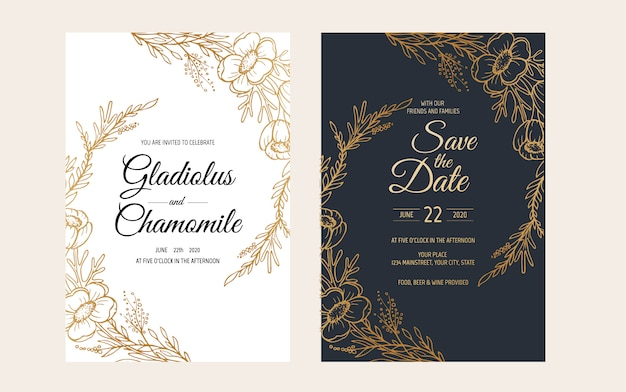 Minimalist wedding invitation card template design. template, frame with delicate flowers, branches, plants.