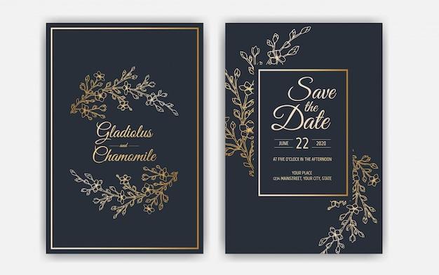 シンプルな結婚式の招待カードテンプレートデザイン。テンプレート、繊細な花、枝、植物のフレーム。