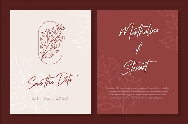 Minimalist wedding invitation card template design
