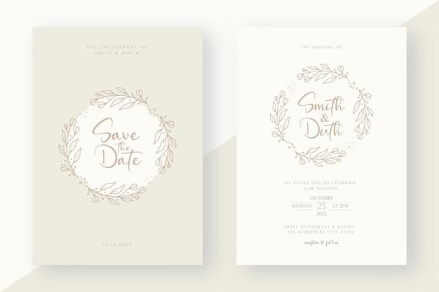 Minimalist wedding invitation card template with line art style floral wreath illustration