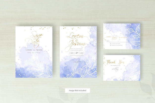 Minimalist wedding invitation card with geometric line and abstract colorful watercolor splash