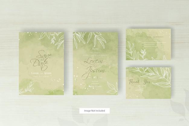 幾何学的なラインと抽象的なカラフルな水彩スプラッシュのミニマリストの結婚式の招待カード