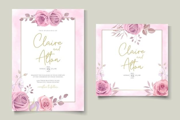 ピンクの花のデザインのミニマリストの結婚式の招待カード