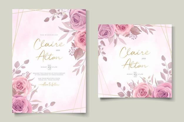 Минималистский свадебный пригласительный билет с розовым цветочным дизайном