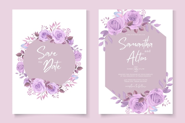 Минималистичный дизайн свадебного приглашения с фиолетовыми розами