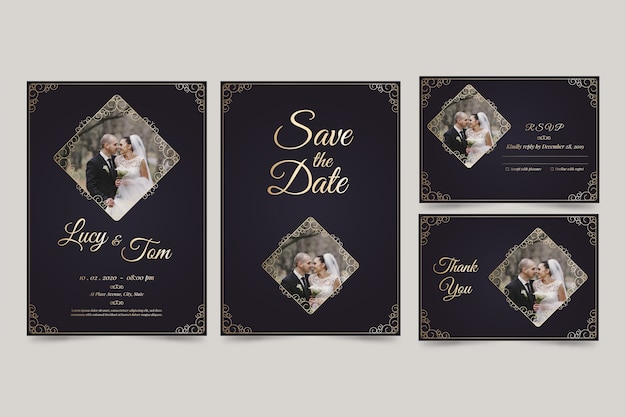 Minimalist wedding invitation save the date