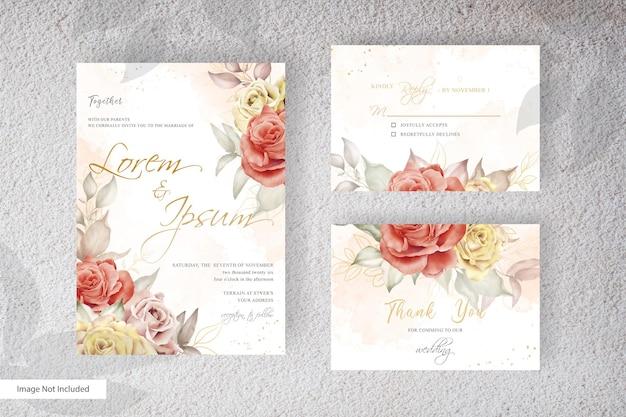 Minimalist wedding invitation template set with watercolor and minimalist flower arrangements