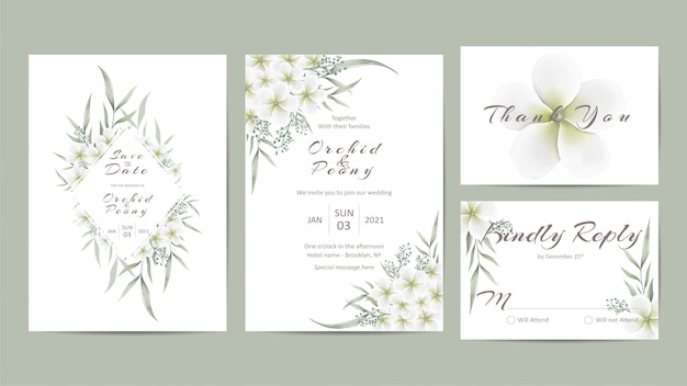 Minimalist wedding invitation template set with white flowers