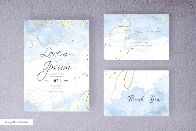 抽象的な水彩スプラッシュ背景と手描きの液体水彩画のミニマリストの結婚式の招待状のテンプレート
