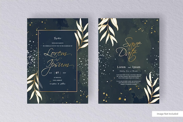 Minimalist wedding invitation template with abstract watercolor splash background and hand drawn liquid watercolor
