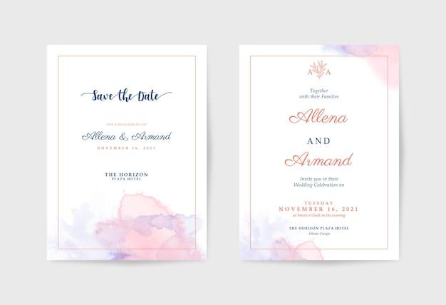 Минималистичный шаблон свадебного приглашения с красивой акварелью