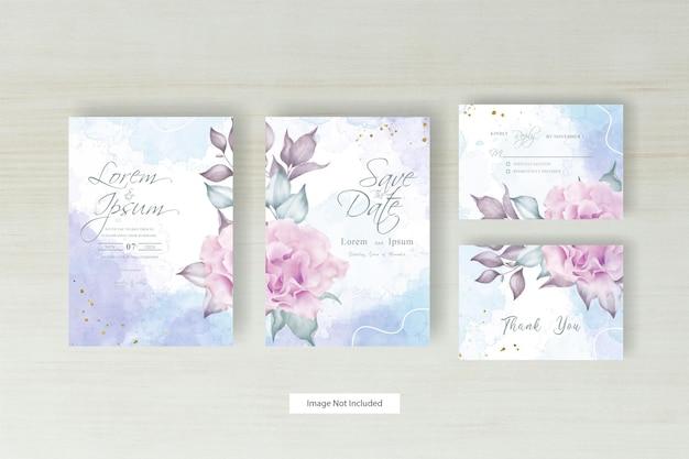 手描きの花と抽象的な水彩スプラッシュデザインのミニマリストの結婚式の招待状のテンプレート