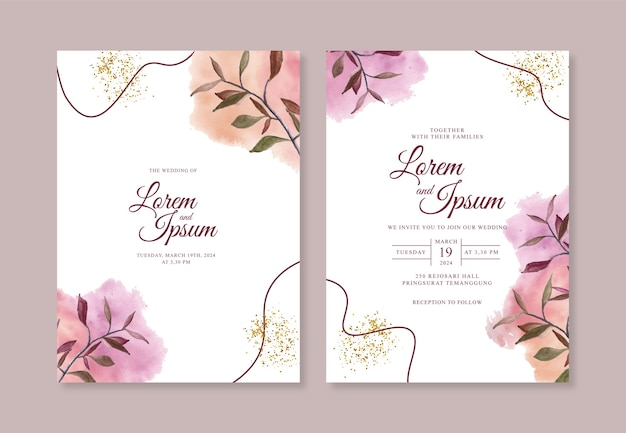 Минималистичный шаблон свадебного приглашения с ручной росписью акварельными кистями и линией