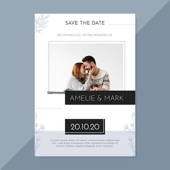 Минималистский шаблон свадебного приглашения с фото