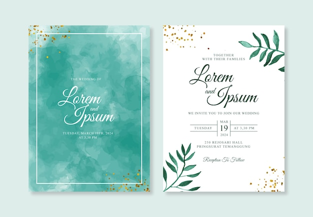 Minimalist wedding invitation template with watercolor background and leaves