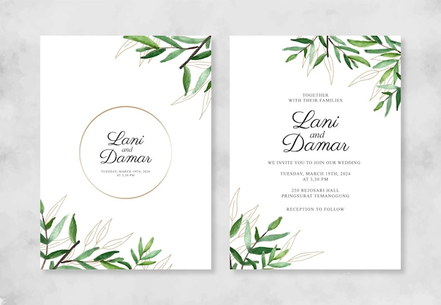 Минималистичный шаблон свадебного приглашения с акварельной листвой