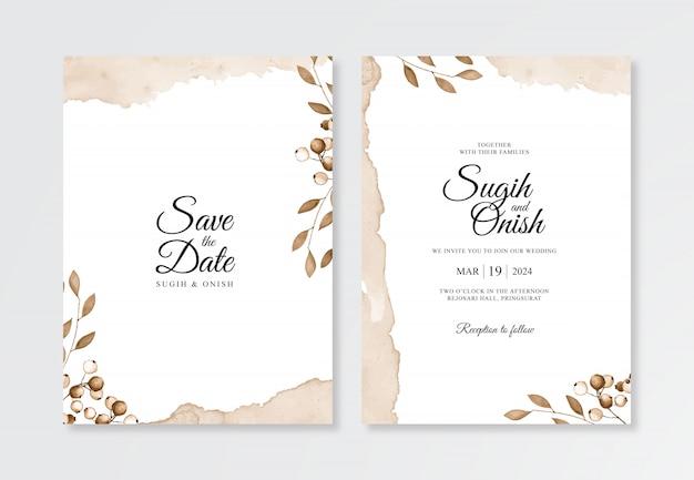 Minimalist wedding invitation template with watercolor plant and splash