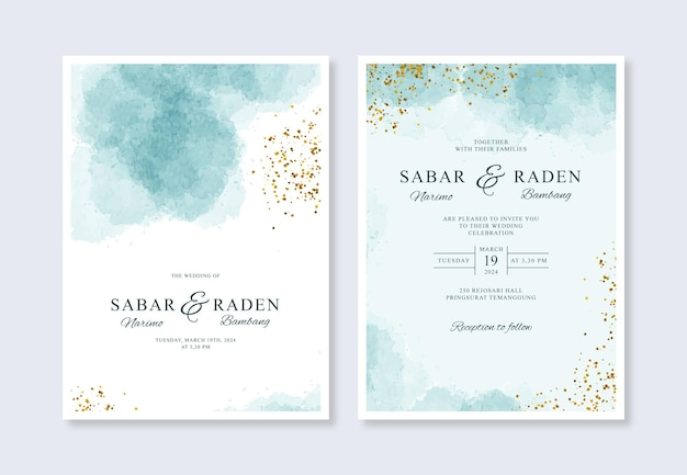 Минималистичный шаблон свадебного приглашения с акварельными всплесками и блеском
