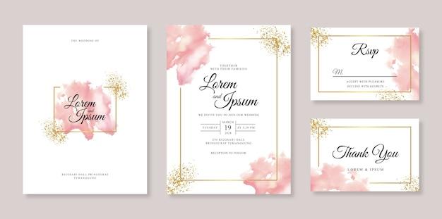Minimalist wedding invitation template with watercolor splash and sparkle