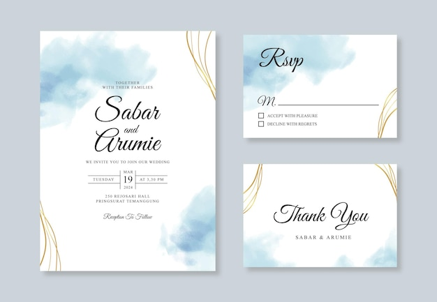 水彩ステインとミニマリストの結婚式の招待状のテンプレート
