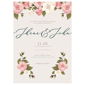 Minimalist wedding invitation template.