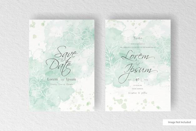 Минималистское свадебное приглашение с абстрактным акварельным фоном всплеск и ручной росписью жидкой акварелью