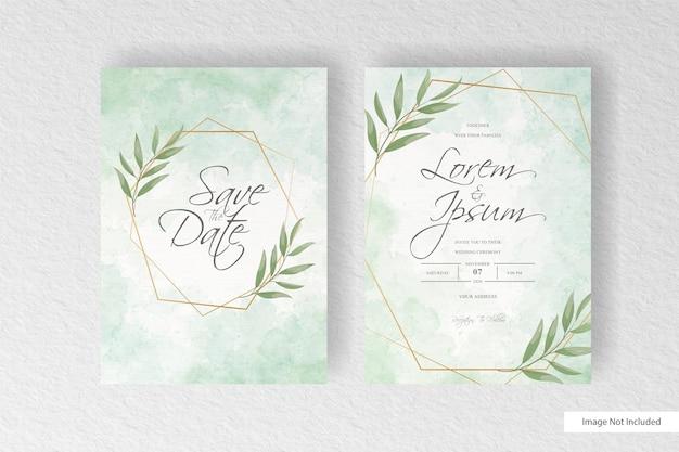 抽象的な水彩スプラッシュ背景と手描きの液体水彩画とミニマリストの結婚式の招待状