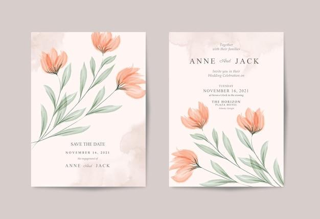 Минималистичное свадебное приглашение с красивой цветочной акварелью