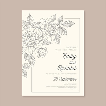Minimalist wedding invitation with drawn elements