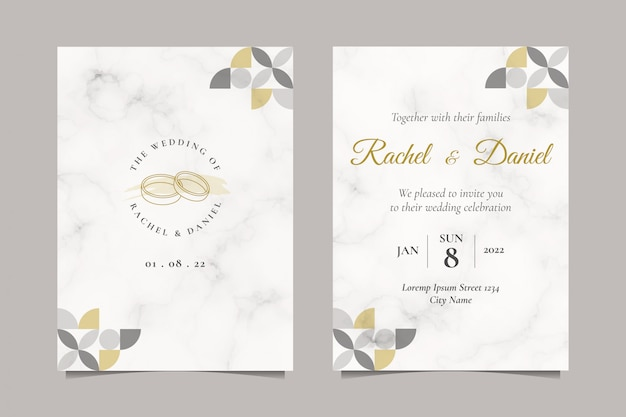 Minimalist wedding invitation with simple wedding ring line art illustration