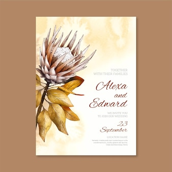 Minimalist wedding invitation with watercolor elements