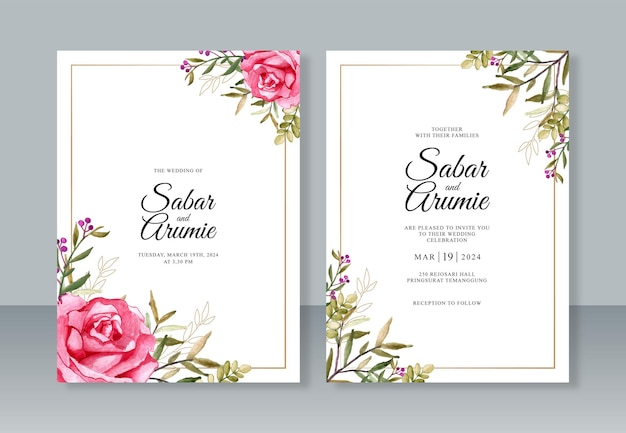Minimalist wedding invitation with watercolor flower painting