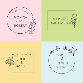 Minimalist wedding monograms pack in pastel colors
