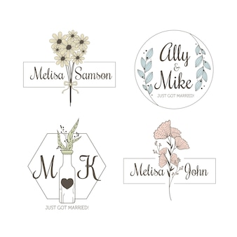 Minimalist wedding monograms in pastel colors collection
