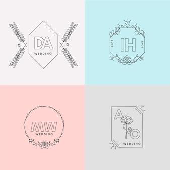 Minimalist wedding monograms in pastel colors collection