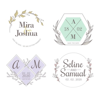 Minimalist wedding monograms in pastel colors set pack